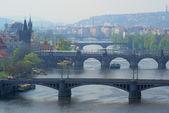 Praag bruggen luchtfoto — Stockfoto