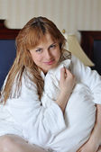 Girl in bathrobe — Stock Photo