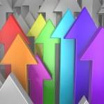 3d rainbow arrows among grey. Creativity concept — Stock Photo #32008629