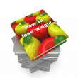 3d book with apple cover. Healthy life concept — Stock Photo