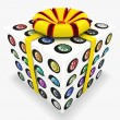 3d gift box with Set of colorful wheels — Stock Photo