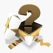 3d gift box with golden question mark — Stock Photo