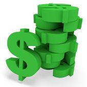 3d pile of dollars — Foto Stock
