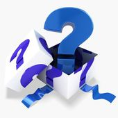 3d gift box blue question mark — Stock Photo