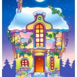 Fairy tale house under the moonlight on Christmas Eve — Stock Photo
