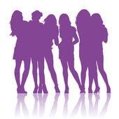 十几岁的女学生互相交谈 silhouettes — 图库矢量图片