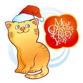 子猫を着てクリスマス キャップ — ストックベクタ
