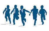 Silhouettes of elementary school children running outside — 图库矢量图片