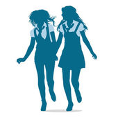 Silhouettes of teenage school girls running together — Stock Vector