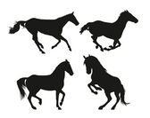 Horses silhouettes — Stock Vector