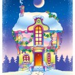 Fairy tale house under the moonlight — Stock Photo