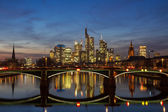 Panorama of Frankfurt at twilight — Stock Photo