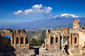 Ruins of the Greek Roman Theater, Taormina, Sicily, Italy — Stock Photo