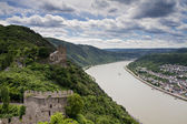 Panorama of the Rhine River Valley with Castle Liebenstein — Stock Photo