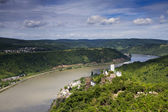 Panorama of the Rhine River Valley with Castle Sterrenberg — Stock Photo