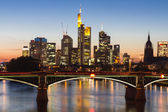 Skyscrapers of Frankfurt at twilight — Stok fotoğraf
