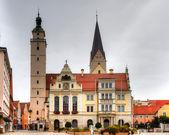 Mairie et église d'ingolstadt, marché — Photo
