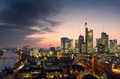 Skyline of Frankfurt at sunset — Stock Photo