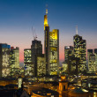 Cityscape of Frankfurt at twilight — Stock Photo