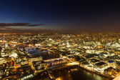 Aerial Panorama of London during the blue hour — Stock Photo