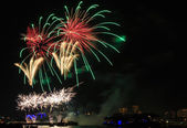Colorful firework over the Rhine river — Stock Photo