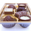Chocolate sweets in box close up — Stock Photo