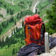 Stock Photo: Rucksack, rope and thermos