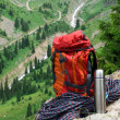 Rucksack, rope and thermos - Stok fotoğraf