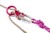 Climbing equipment - rope, carabiner, figure eight — Stock Photo