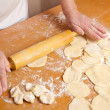Stock Photo: Hands of baker knead dough