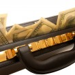 Stock Photo: Briefcase with cash With coded lock