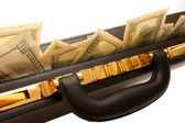 Briefcase with cash With a coded lock — Stock Photo