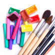 Stock Photo: Brushes, pastel and water color paints
