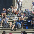 Stock Photo: Pilgrims Resting on Stairs