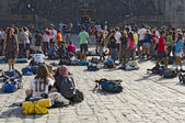 Pilgrims in Obradoiro Square — Stock Photo