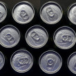 Cans with water drops. — Stock Photo