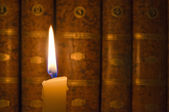 Candle and Books — Stock Photo