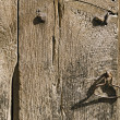 Stock Photo: Handle on Old Wooden Door