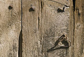 Handle on the Old Wooden Door — Stock Photo