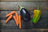 Carrot, Eggplant, Pepper — Stock Photo