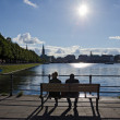 Looking at the Alster lake — Foto de Stock