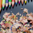 Pencils and shavings — Stock Photo