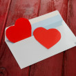 Red heart in paper envelope — ストック写真