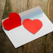 Red heart in paper envelope — Stock Photo