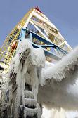 Oil rig - winter drilling — Stock Photo