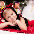 Girl celebrates Christmas — Stock Photo