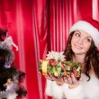 Girl with gifts near a Christmas tree — Stock Photo #16298385