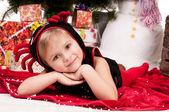 Girl celebrates Christmas — Stock Photo