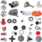 Collection of components String Trimmers on a white background — Stock Photo
