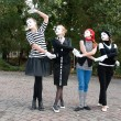Mimes dancing in the street — Stock Photo
